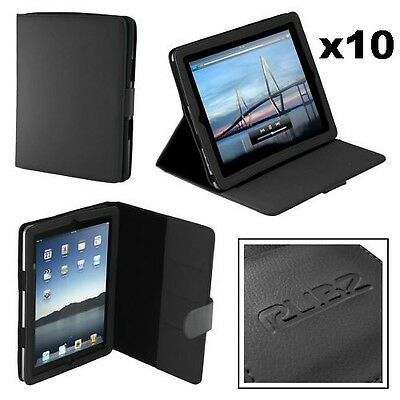 Rubz iPad2 Black Leatherette Folio Cover Case for Apple iPad 2 Tablet Pack of 10
