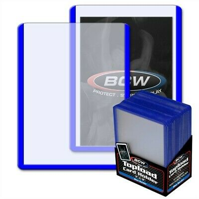 100 BCW BLUE Border Hard Plastic Baseball Trading Card Topload Holders protector