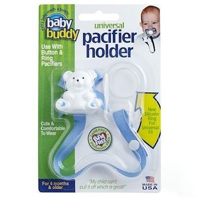 Baby Buddy Universal Button / Ring Pacifier Holder - Infant Binkie Clip - Blue