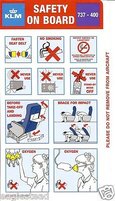 Safety Card - KLM - B737 400 - 1998 - Purple  (S3514)