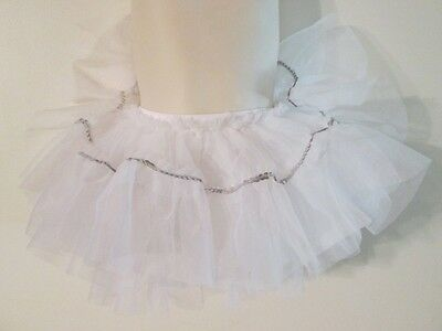 Curtain Call CHILDS DANCE TUTU CXS White with Silver Sequins BALLET Kids COSTUME