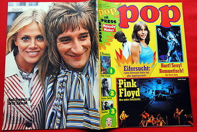 Rod Stewart/britt Ekland On Back Cover Beatles Poster 1975 German Magazine
