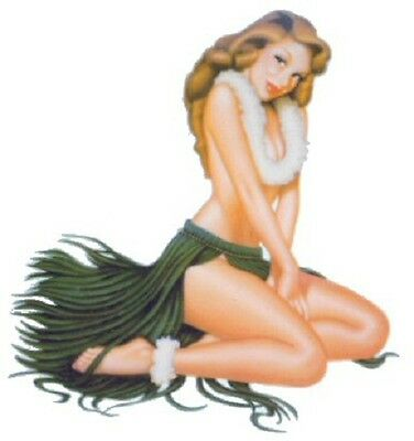 """Vintage 50s Hula Girl Leilani Vinyl Stickers Decals  Pair 3"""" Rare & Out of Print"""