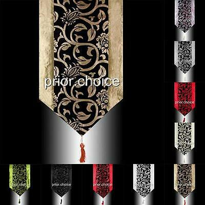 Rare Luxury Floral Black Flock Decorative Tassel Wedding Bed Table Runner Cloth