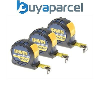 Irwin IRW10507795 Pack of 3 Professional Pocket Tape Measures 8m / 26ft Carded
