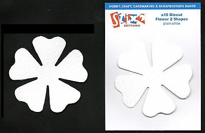 15 DIE CUT WHITE FLOWER SHAPES 270gsm CRAFT CARD MAKING SCRAPBOOK TOPPERS S57299