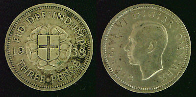 King George VI Silver 3d threepence 1937 - 1944. Choose your coin  in wallet