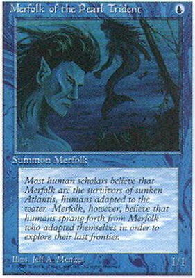 4 x Merfolk of the Pearl Trident x4 ✰ 4th Edition ✰ PLAYED, English MTG