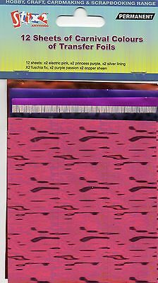 12 Sheets Transfer Foils Carnival Colours Pink Purple Silver Fuschia Copper