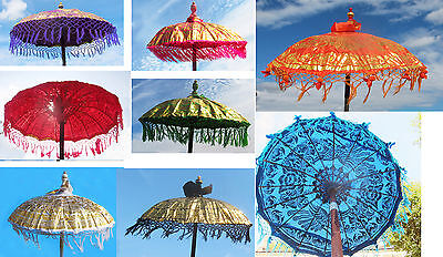 "34"" diameter colorful fringed fabric PARASOL, hand-made wood, Balinese temple"