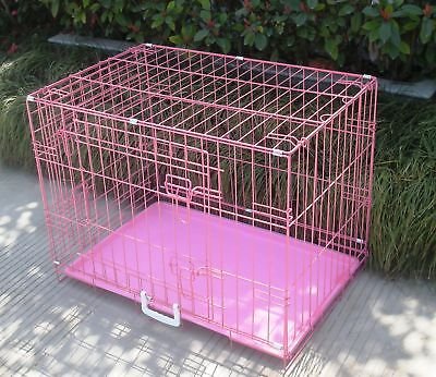 """New 36"""" 2 Door Pink Folding Dog Crate Cage Kennel LC ABS"""