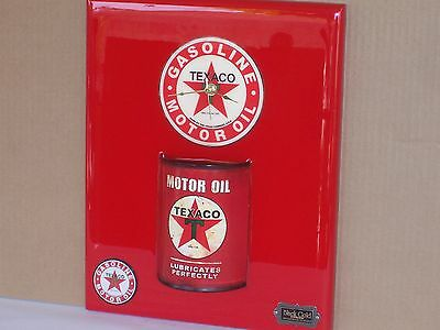 ☆TEXACO Wall Clock ☆LUBRICATES PERFECTLY - MADE WITH REPLICA METAL OIL CAN > NEW