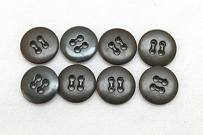 WWII dark brown trouser and shirt rimless buttons 11/16in lot of 8 B7825
