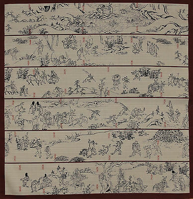 Furoshiki Japanese Fabric Cloth Red 'Playful Animals Scroll' Cotton 50cm