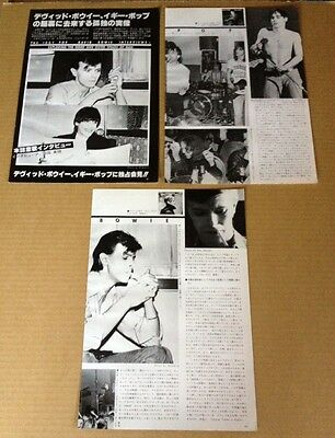 1977 David Bowie & Iggy Pop 5pg 8 photo JAPAN mag feature / clippings db007m
