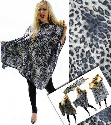 Snow Leopard Print Salon Cutting Cape Gown Professional Hook Fastening Fits All
