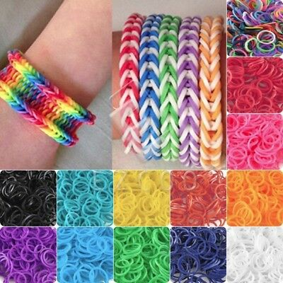 200/600PCS Kids Rainbow Rubber Loom Bands Bracelet Twistz Marking Set DIY Crafts