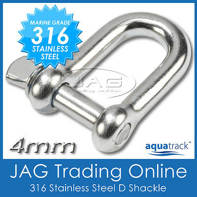 4mm 316 STAINLESS STEEL STANDARD DEE D-SHACKLE M4-Marine/Boat/Sailing/Shade/Sail