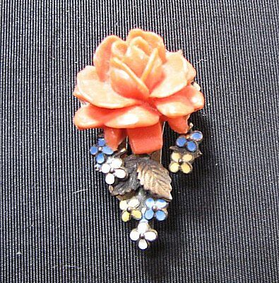 VINTAGE CELLOULOID ROSE DRESS CLIP w/ ENAMELED METAL, SMALL SIZE