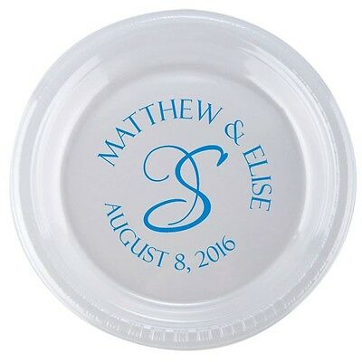 500 Custom Personalized 9in Clear Disposable Plates for Wedding Dinner or Cake