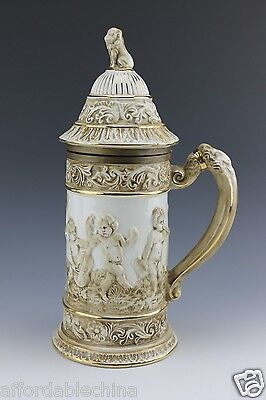 Large Capodimonte Beer Stein with Lion Putti Figural Bronze Lip Italy