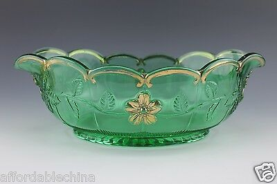 "Northwood Eapg Green ""gold Rose"" Pattern Console Fruit Bowl"