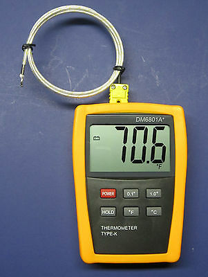 Digital K-Type Thermometer with High Temperature Wire Probe Furnace Kiln DM6801