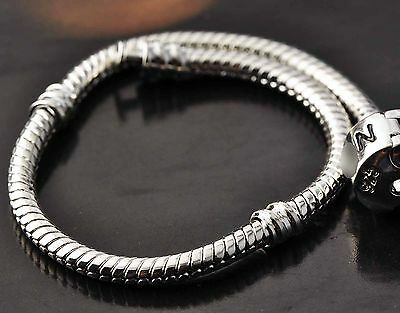 Fit Bead/Charm White Gold Filled/Silver Bracelet 15 16 17 18 19 20 21 22 23cm