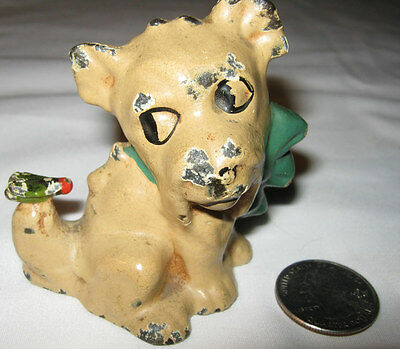 Antique Hubley Usa Novelty Dog W/ Fly On Tail Cast Iron Paperweight Toy Statue