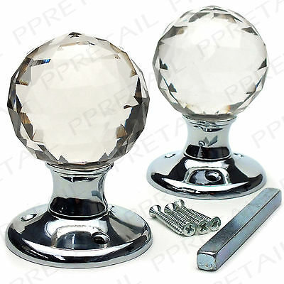 2x REAL GLASS ROUND BALL MORTICE KNOBS Crystal Door Internal Latch Handle Set
