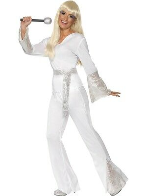 8-18 White Disco Costume 70s 80s Ladies Fancy Dress Outfit Dancing Queen Abba