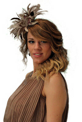 New Nude & Burgundy Feather Fascinator Hat, Wedding, Races ANY colour available