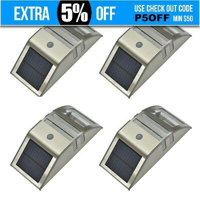 4 x Paradise Solar Powered LED Accent Security Wall Light Motion Sensor Fence