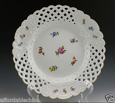 "Large Meissen Porcelain 11 3/8"" Reticulated Scattered Flowers Plate Charger"