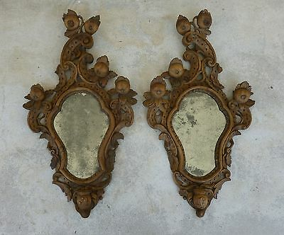 A Fine Pair Of 19Th C Italian Venetian Rococo Wood Mirrors With Fruits