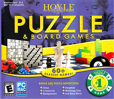 Hoyle Puzzle & Board Games 2008 PC Mac Chess Crosswords Backgammon Mahjongg Tile