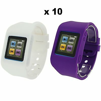 Rubz White Purple Watch Band Case Cover for Apple iPod Nano 6th Gen 10 Packs of2