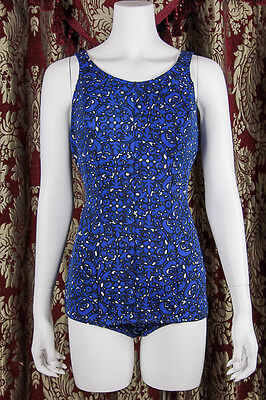 VTG 60s MOD Pin-Up *BAROQUE SWIRLS* One-Piece ROYAL BLUE Bathing Suit SWIMSUIT M