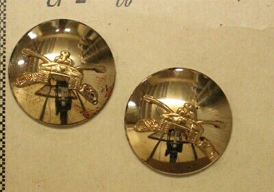 Army Enlisted Collar Pin:  Armor - domed pair