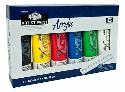 6  x 120ml TUBES OF ACRYLIC ARTIST PAINT ASSORTED COLOURS & PALETTE ACR120-6