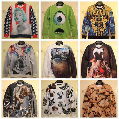 2014 New Fashion Women/Men Harajuku print Dog/cat Pullovers animal 3D Sweaters