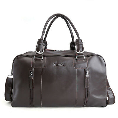 TIDING Men's Coffee Large Nappa Leather Duffle Gym Shoulder Travel Luggage Bags