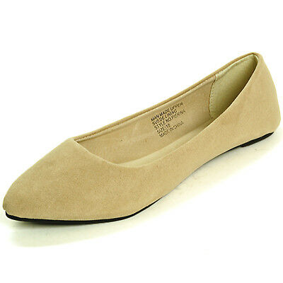 Alpine Swiss Lilly Women's Ballet Flats Pointed Toe Suede Lined Microsuede Shoes