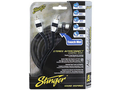 Stinger Pro 8000 Series Audiophile 3' 2 Channel RCA Interconnects Cable SI823