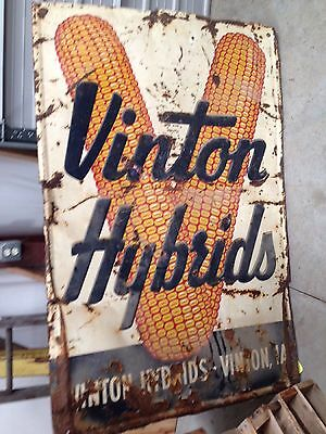 VINTON HYBRIDS Iowa Corn Seed Sales Rare Vintage Tin Sign