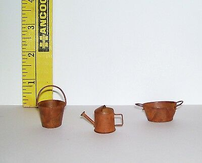 Vintage Dollhouse Miniature Rustic Rust Look Buckets Water Pitcher Accessory Lot
