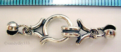 1x STERLING SILVER EYE HOOK CLASP with CRIMP BEAD COVER 33mm N165