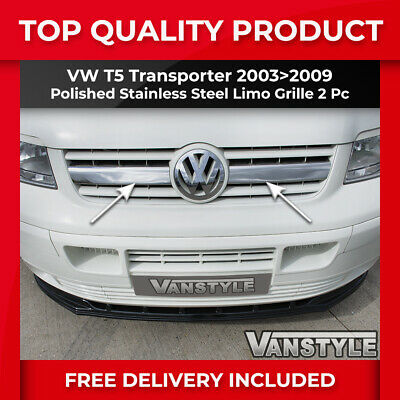 Vw T5 Transporter 2003-09 Chrome Radiator Limo Grille Covers Stainless Steel