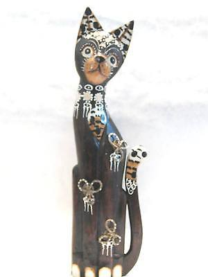Wooden Cat Hand Carved Hand Painted Wood Bali Home Decor Sculpture #4744