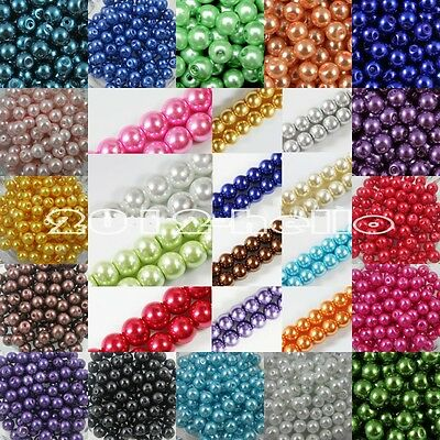 European Glass Loose Pearl Beads 4mm 6mm 8mm 10mm 12mm 14mm 16mm,Various Colors